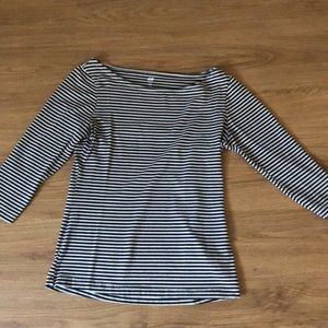 H&M Boat Neck Striped Shirt 3/4 Length Sleeves